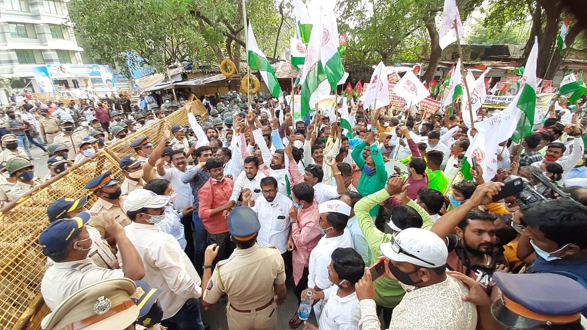 'We want farmer-friendly laws': Farmers protest outside Mumbai collector's office in Bandra