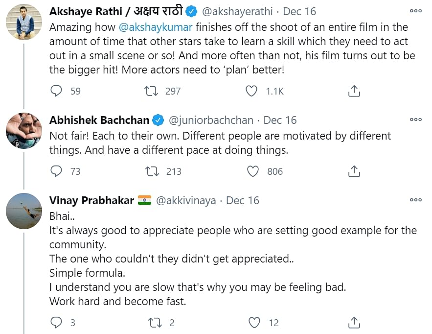 Abhishek Bachchan claps back at a Twitter user who called him 'slow' in comparison to Akshay Kumar