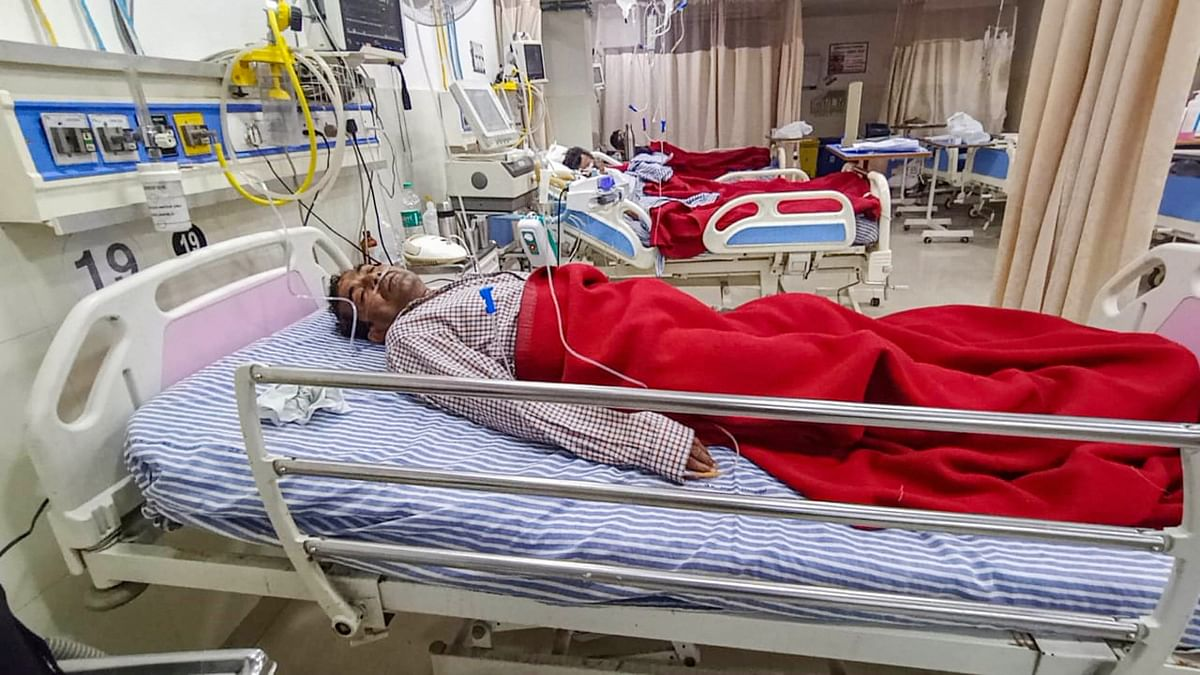 Prayagraj: An employee being treated at a hospital after a gas leakage at IFFCOs Phulpur fertiliser unit, in Prayagraj, Wednesday, Dec. 23, 2020. Two people died in the incident.