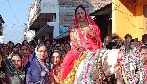 Shivkanya Karoda during 'mamera' ahead of her wedding in Chitramod village near Sanawad town in Khargone district