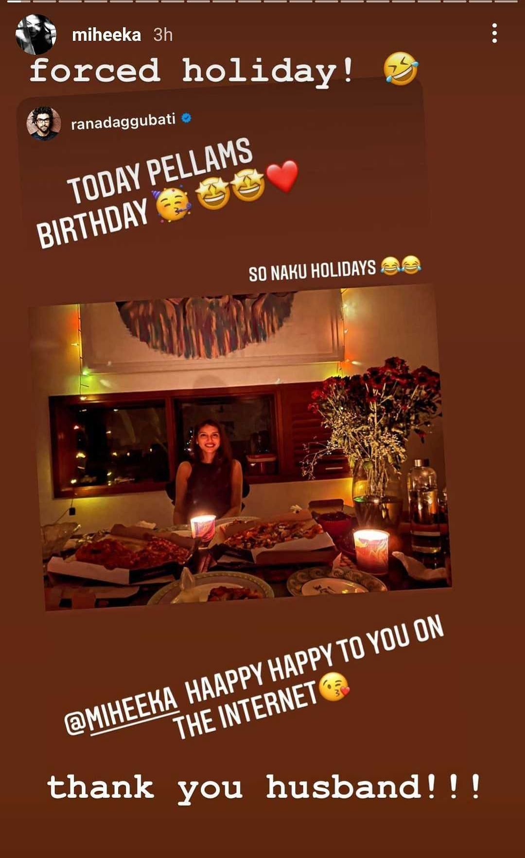 Rana Daggubati hosts candlelight pizza party for his 'Pellam' Miheeka on her birthday