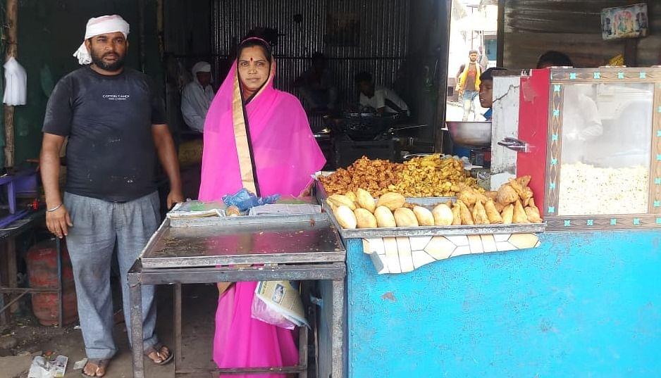 Mangla of Moyda village, under Pansemal block, in Barwani district at her shop
