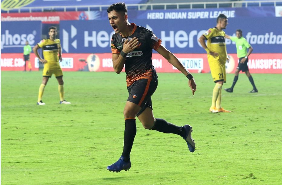 FC Goa's striker Ishan Pandita who caem off the bench celebrates after scoring the the equaliser for his team, at the Tilak Maidan Stadium, Vasco  on Wednesday.