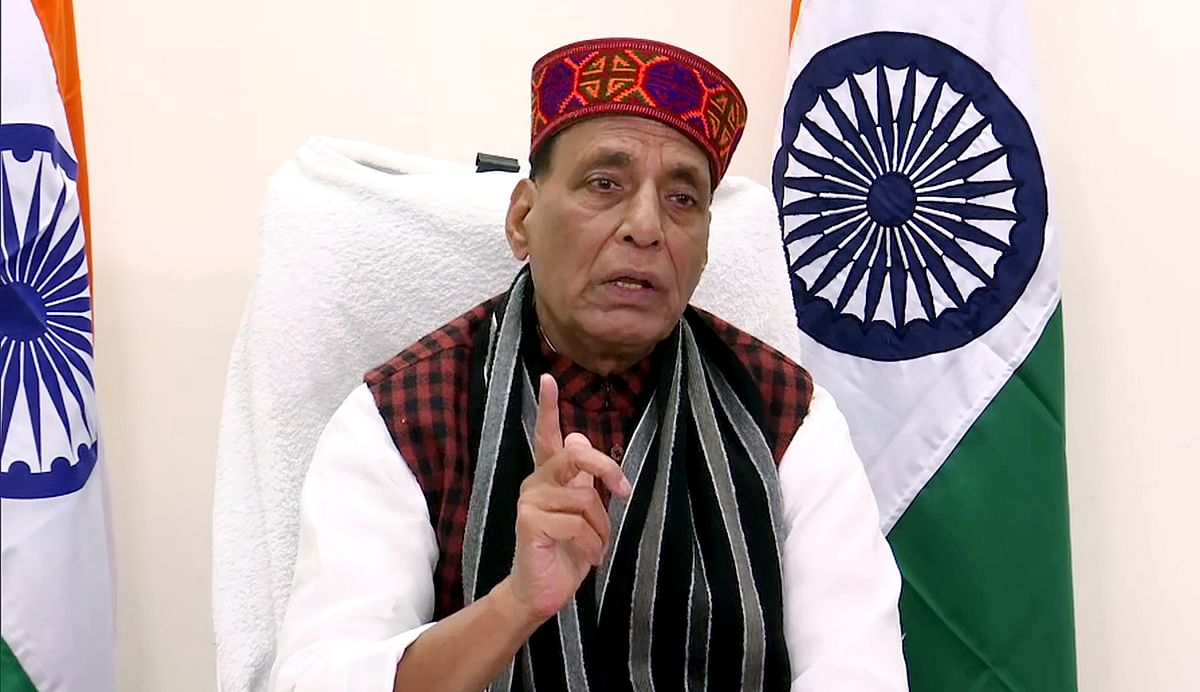 Defence Minister Rajnath Singh addresses during the 3-year completion of Himachal Pradesh Government program via video conferencing, in New Delhi on Sunday.