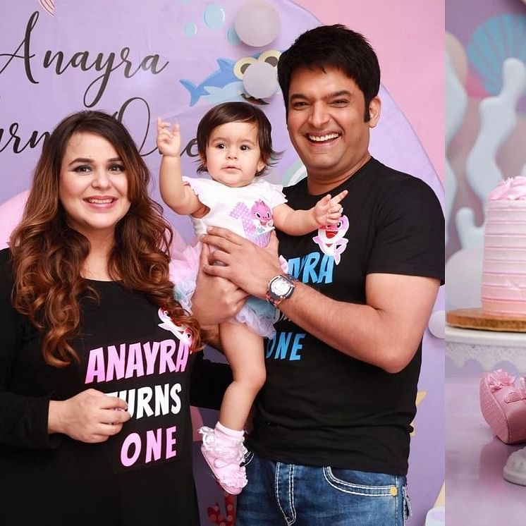 In Pics: Kapil Sharma, Ginni Chathrath celebrate daughter Anayra's first birthday 'baby shark' style
