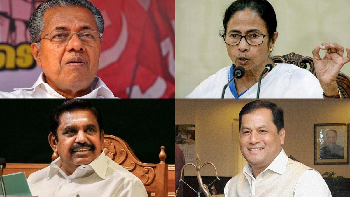 In this FPJ montage, Kerala's Pinarayi Vijayan (upper left) appears with West Bengal CM Mamata Banerjee (upper right), Tamil Nadu CM Edappadi K Palaniswami (bottom left), and Assam CM Sarbananda Sonowal (bottom right)