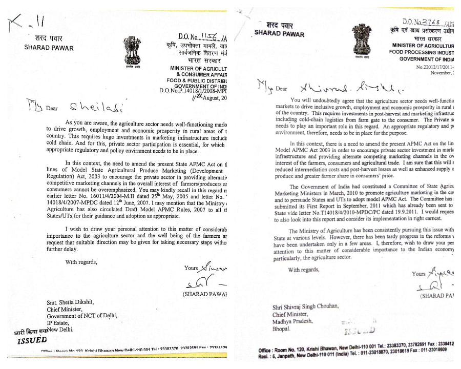 Sharad Pawar's letter to  Sheila Dixit and Shivraj Singh Chouhan