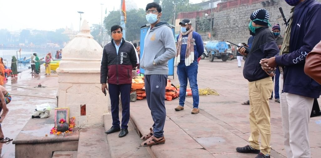 Municipal commissioner assessing cleanliness at ghats