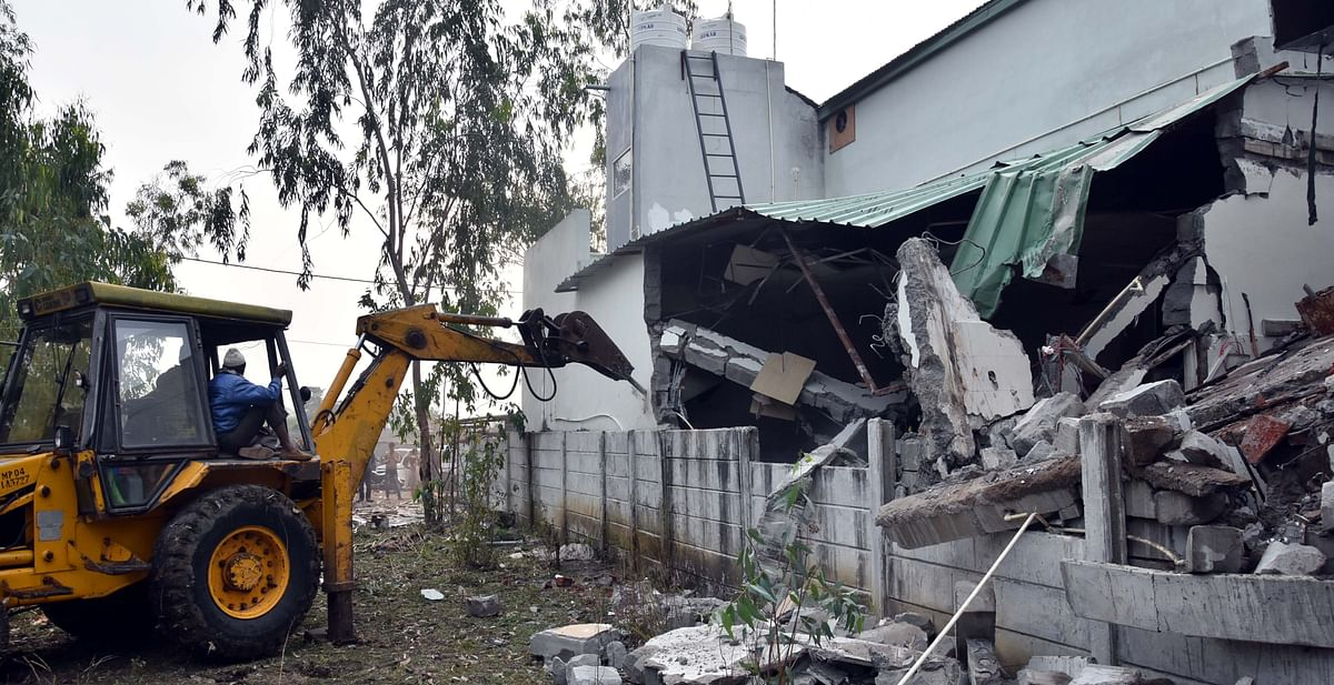 Illegal structure being razed in Bhopal/file pic