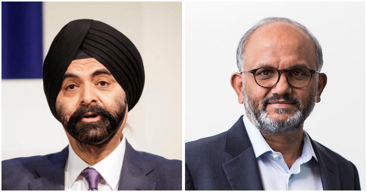 (L to R) Mastercard CEO Ajay Banga  and Adobe CEO Shantanu Narayen and