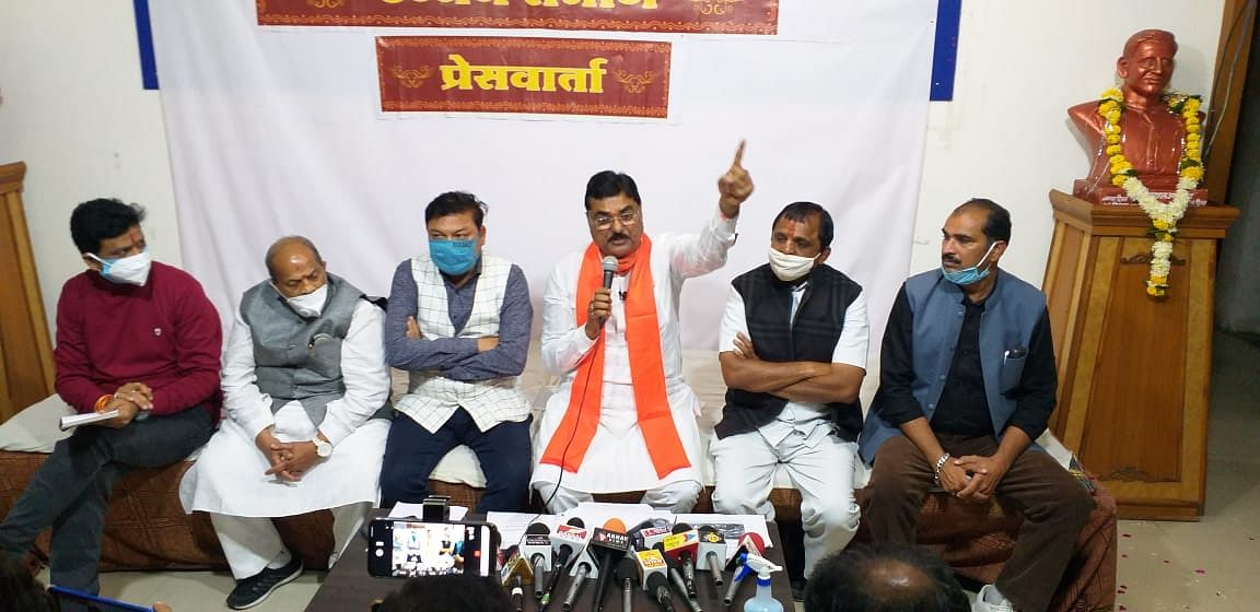 Madhya Pradesh agriculture minister Kamal Patel talking to reporters at BJP office in Ujjain on Monday.