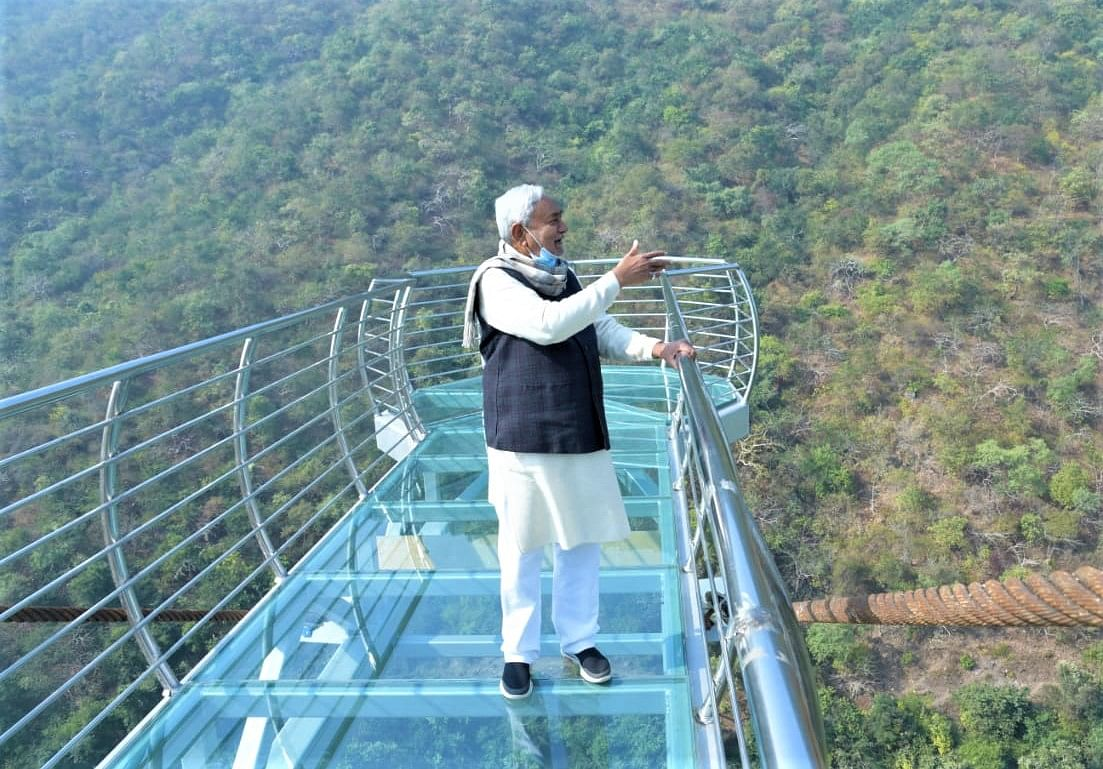 Bihar: Chief Minister Nitish Kumar inspects Nature Safari and Zoo Safari at Rajgir in Nalanda district.