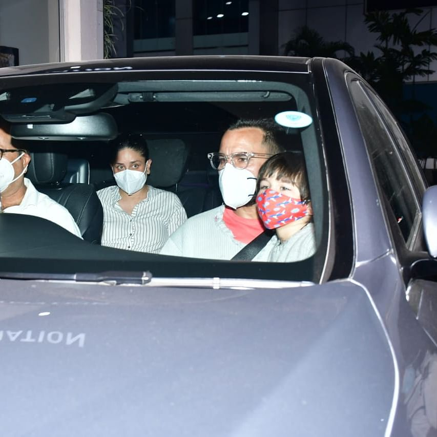 In Pics: Taimur twins with father Saif Ali Khan as they arrive back in the bay from Himachal