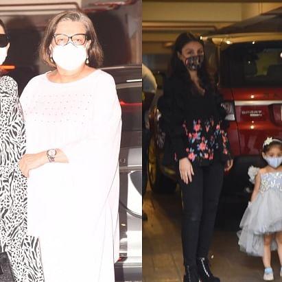 In Pics: Karisma, Babita, Randhir Kapoor and others arrive at Taimur Ali Khan's birthday bash