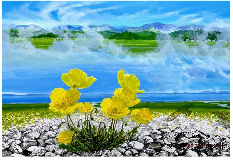 Painting - Mongolia Lake 1 by Young Taek Kwon from Republic of Korea