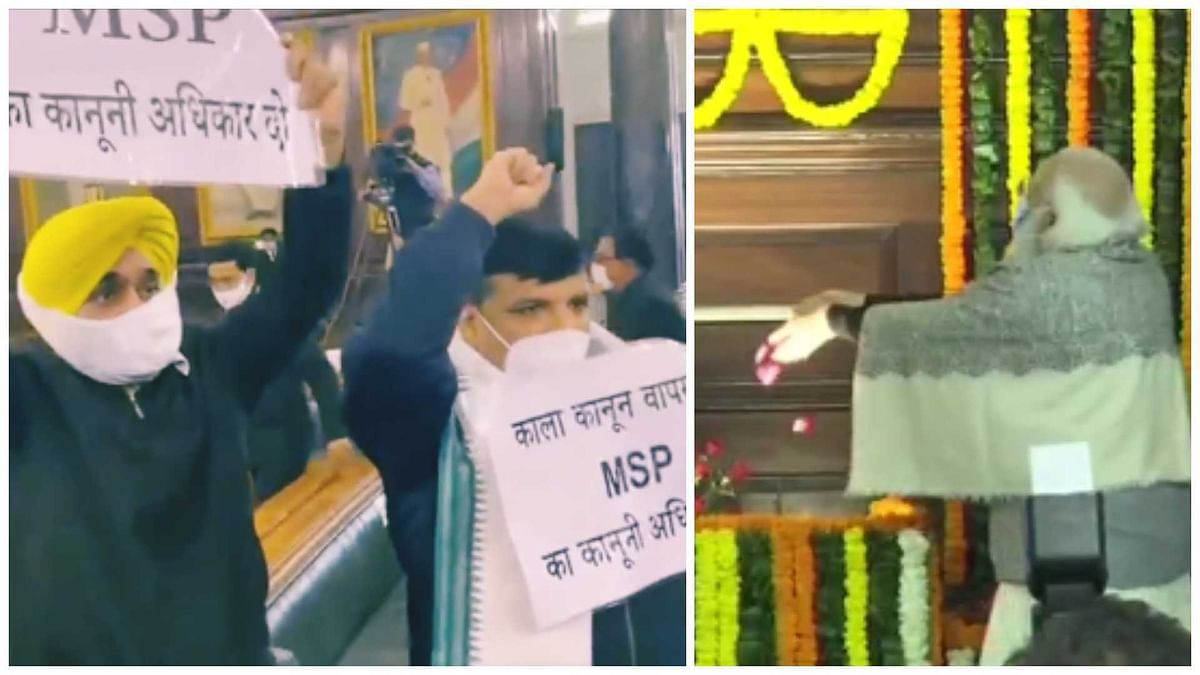 Watch: AAP MPs Bhagwant Mann and Sanjay Singh protest ...