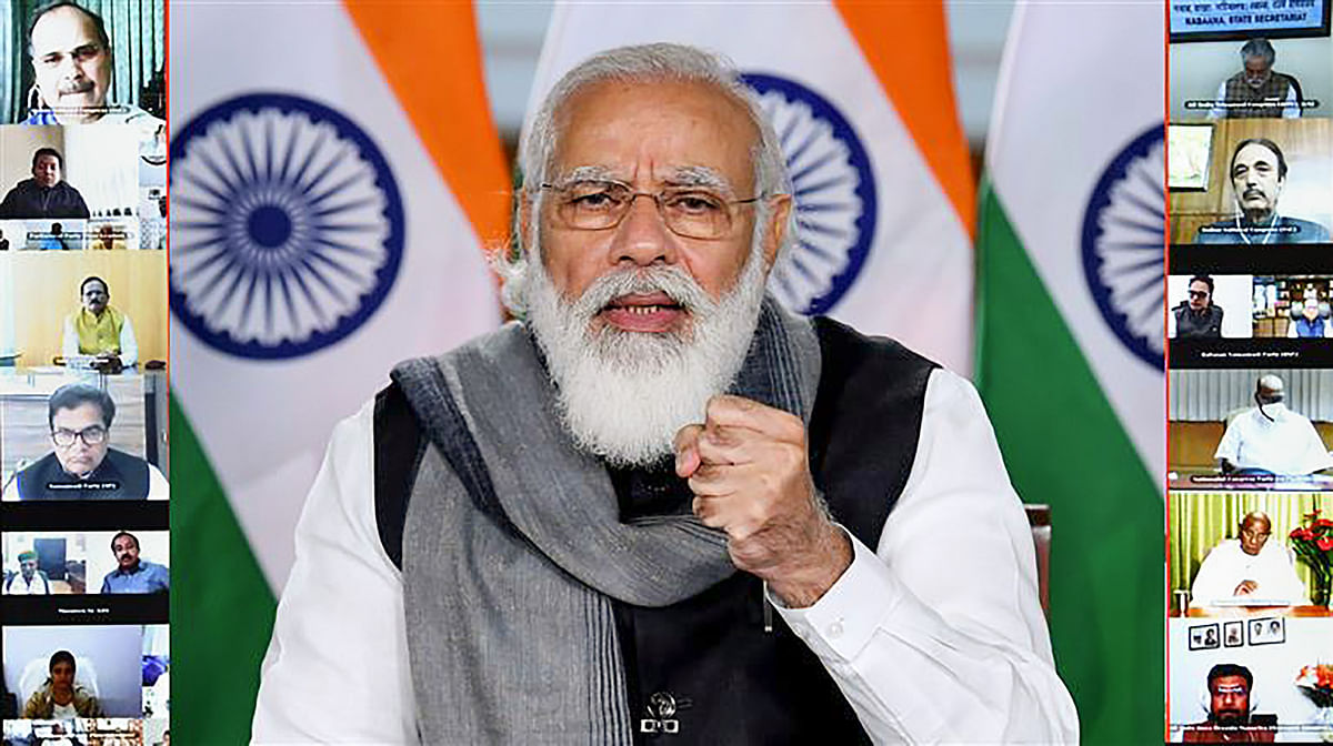 New Delhi: Prime Minister Narendra Modi addresses at the All Party Meeting on Covid-19, through video conferencing, in New Delhi, Friday, Dec. 4, 2020.