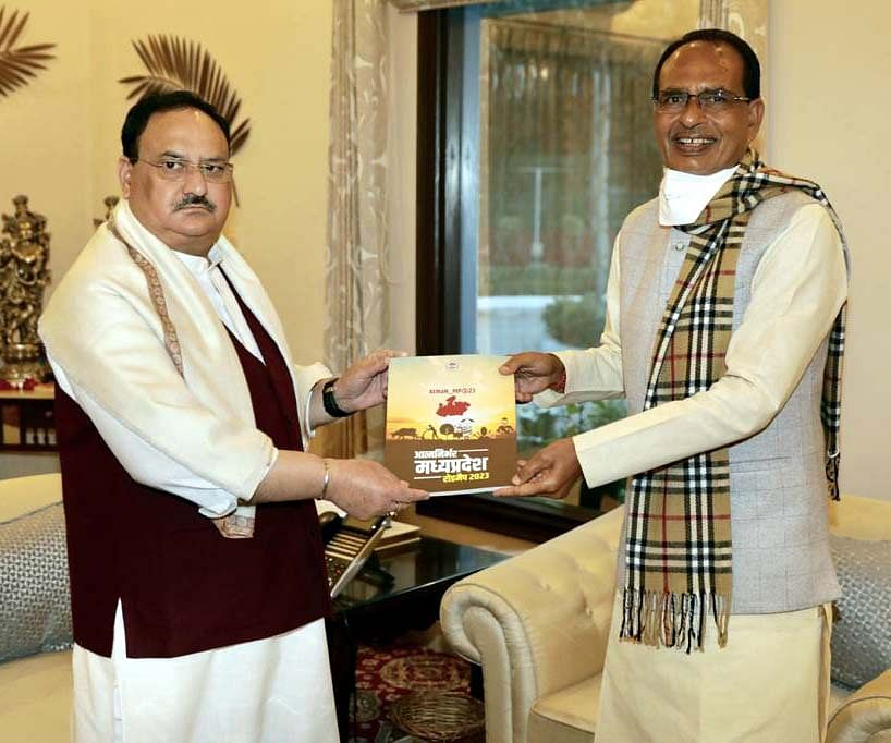 CM Shivraj Singh Chouhan discusses political issues with JP Nadda, Narendra Singh Tomar in Delhi