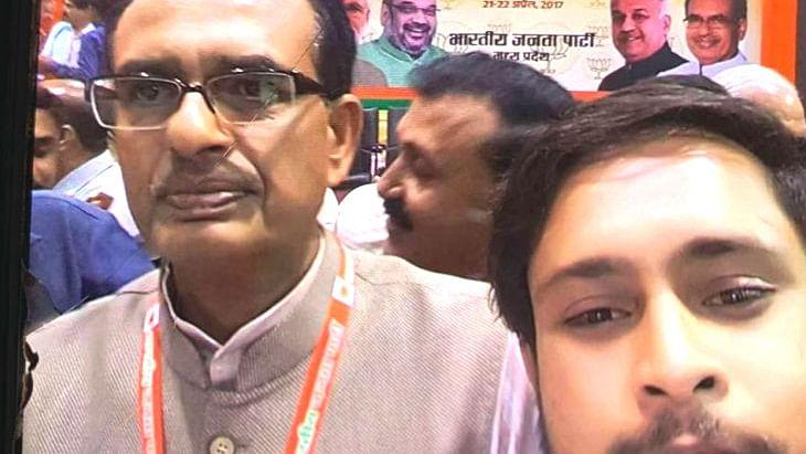 Yash, son of drug peddling accused Preeti Jain, with CM Shivraj Singh Chouhan