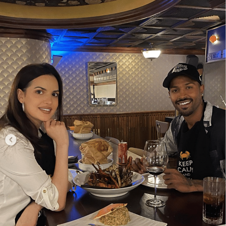 After returning from Australia, all-rounder Hardik Pandya enjoys dinner date with wife Natasa Stankovic; see picture