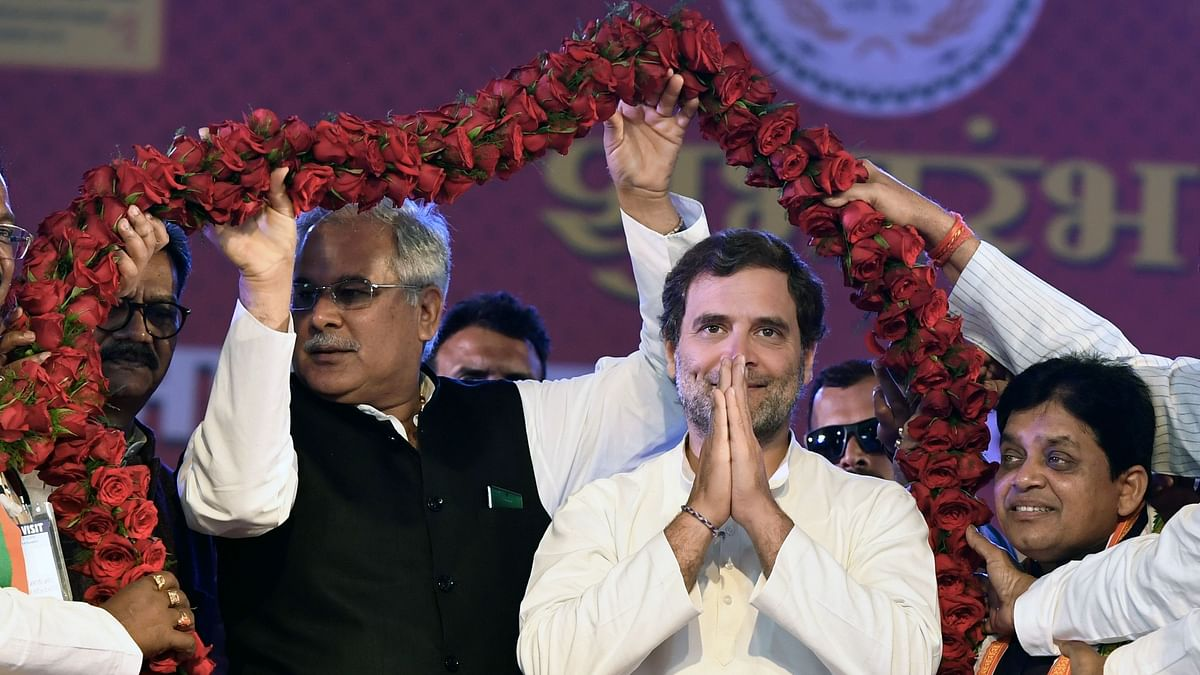 Congress leader Rahul Gandhi being felicitated by party workers during the National Tribal Dance Festival in Raipur on Friday.