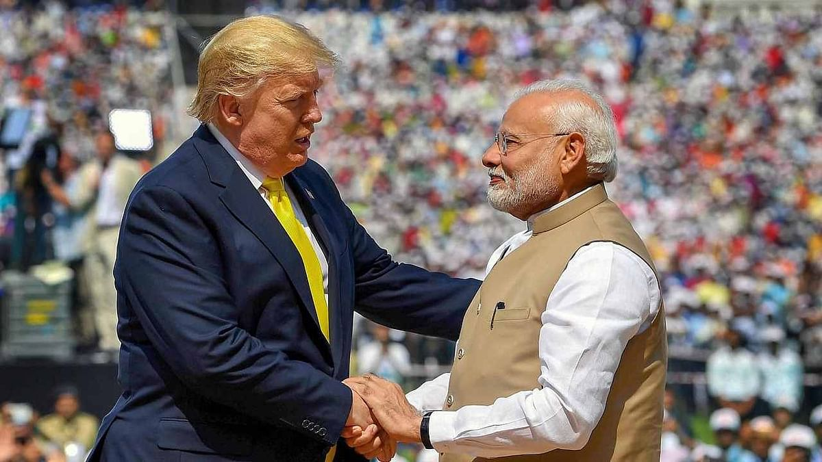 Prime Minister Narendra Modi with US president Donald Trump during the 'Namaste Trump' event.