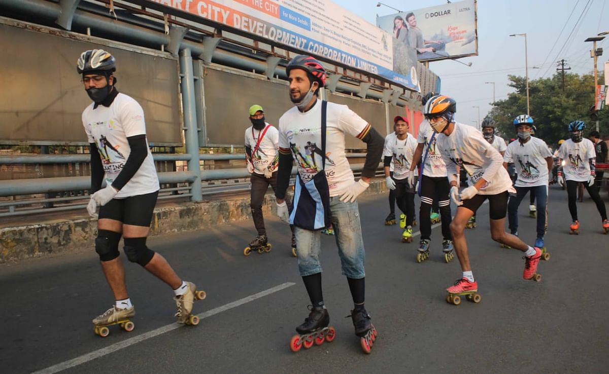 Skaters on roll to promote cleanliness in Bhopal on Sunday