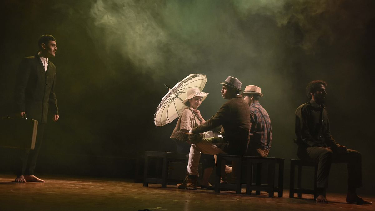 A scene from a play 'Gandhi,' being  staged at Shaheed Bhawan in the city on Sunday evening.