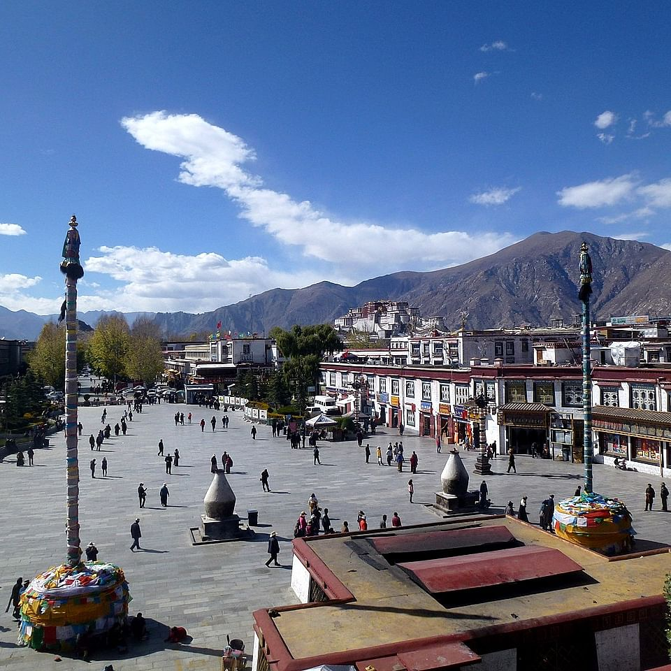 Looking across the square at Jokhang temple, Lhasa