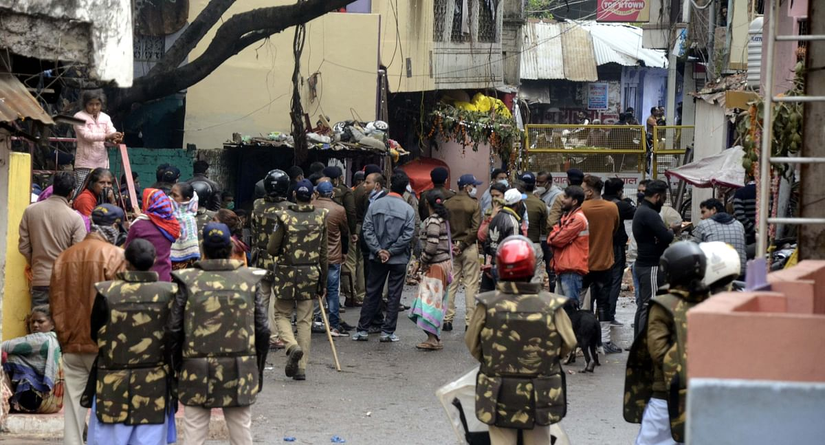 The administration demolishes a multi-storey building of drug mafia at Itwara, under Tallaya police station, on Sunday