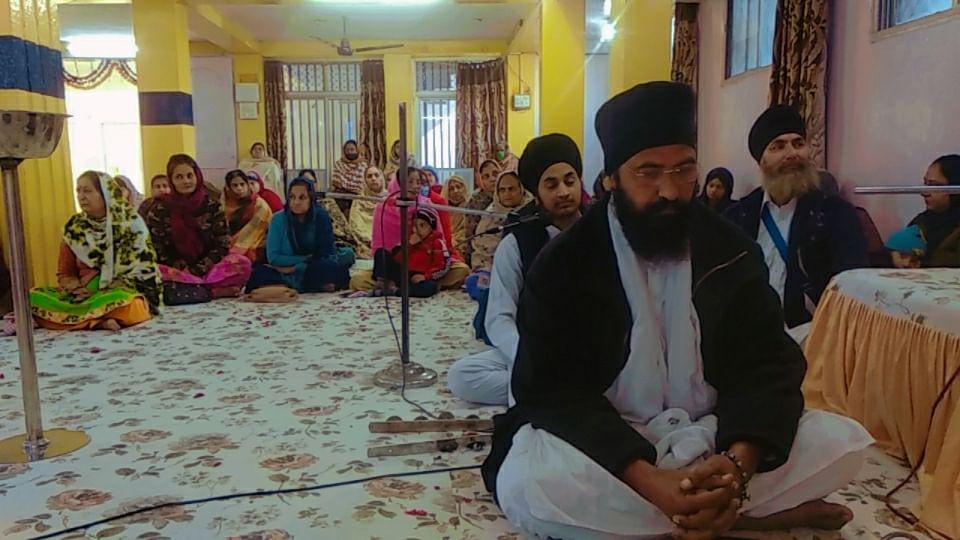 Sikhs participating in 'kirtan' at Patnipura Gurudwara on Saturday