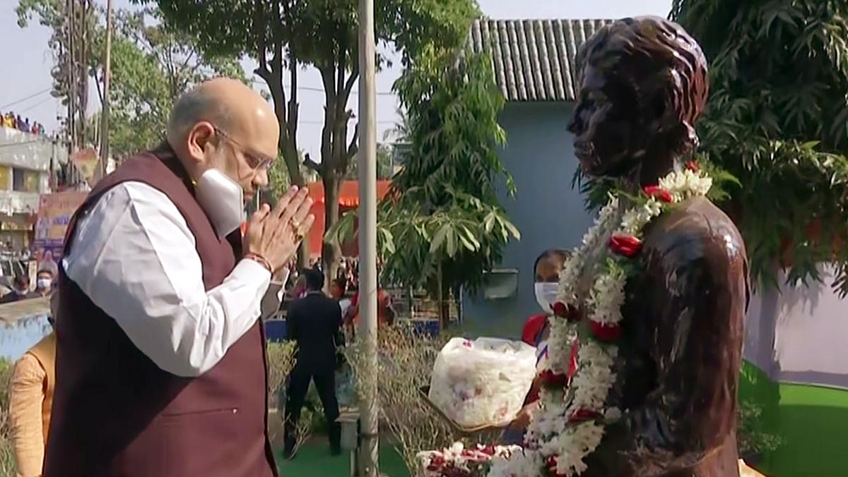 Union Home Minister Amit Shah pays tribute to Khudiram Bose, an epitome of valour and courage, who at a very young age sacrificed himself for the cause of Indias Independence, in Kolkata on Saturday.