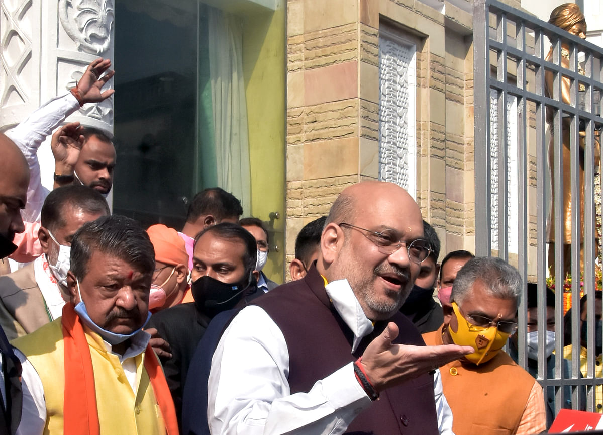 Union Home Minister Amit Shah after paying tribute to Swami Vivekanand at Ramakrishna Ashram in Kolkata on Saturday.