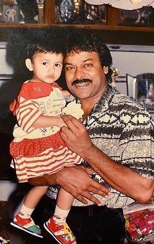 A childhood Picture of Niharika Kondela with her Uncle Cheeranjeevi
