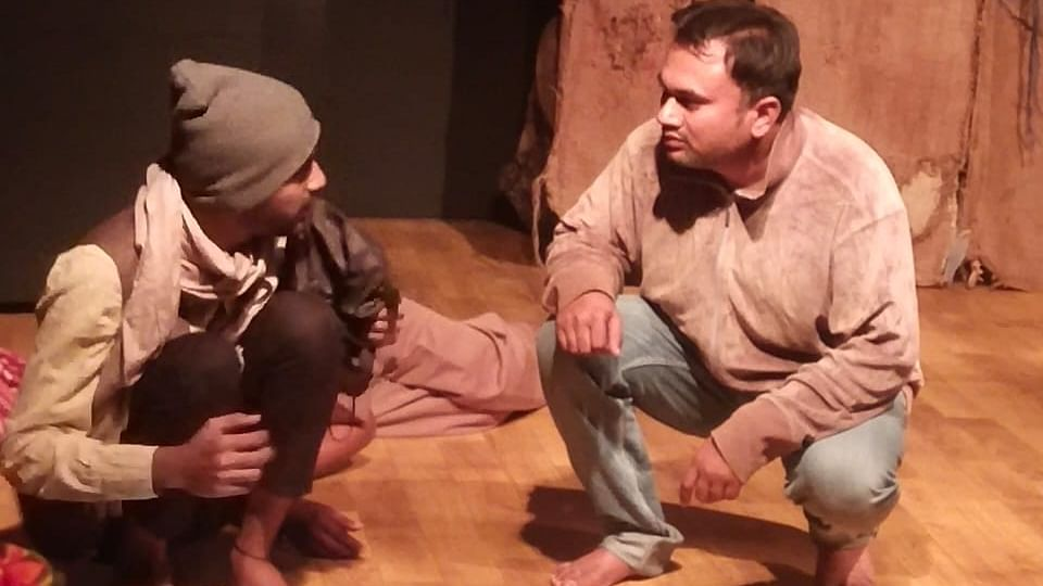 A scene from a play 'Camp' being staged at Gandhi Bhavan in the city on Sunday.