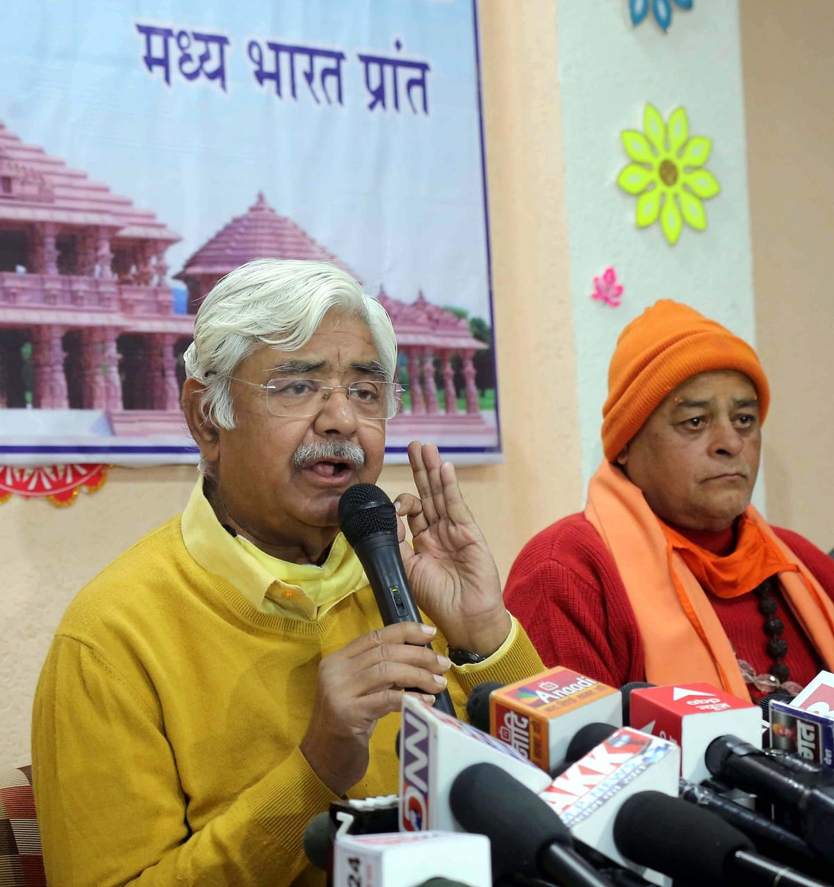 Vishwa Hindu Parishad central executive president Alok Kumar addresses mediapersons in Bhopal on Wednesday.