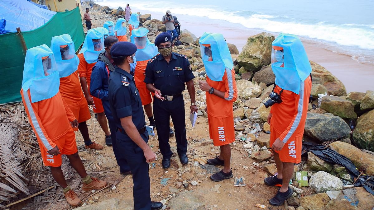 NDRF personnel deployed for the rescue operations ahead of the landfall of Cyclone Burevi, in Thiruvananthapuram on Thursday.
