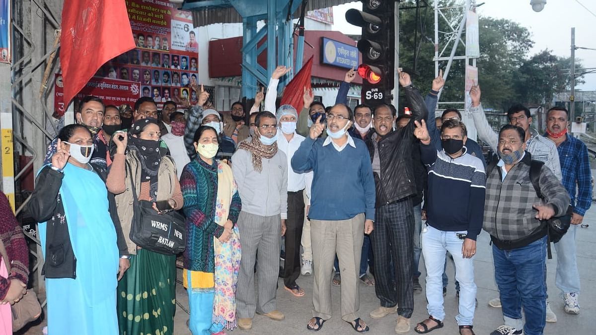 Representational Pic/ WREU members staging demonstration at local railway station.