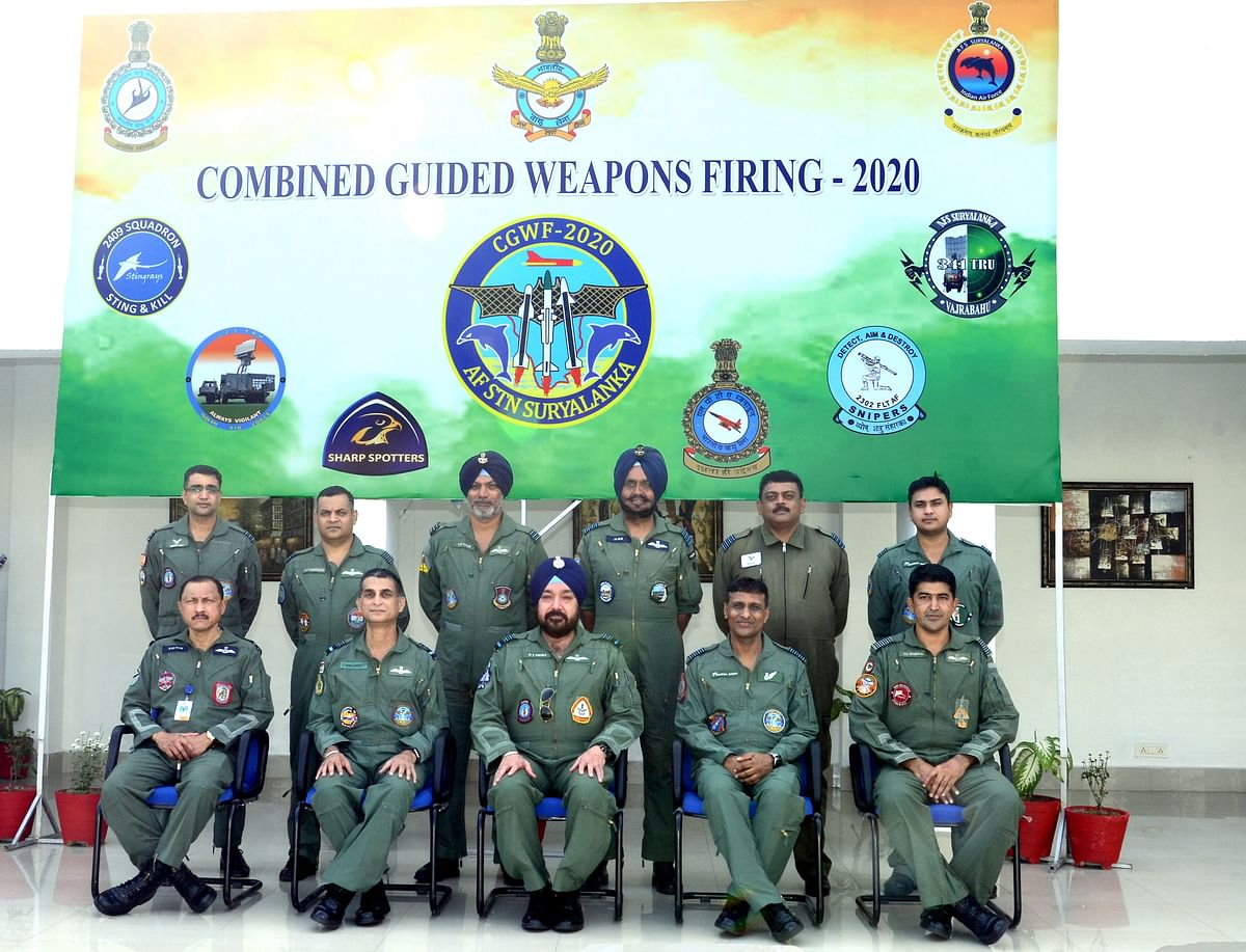 VCAS Air Marshal HS Arora witnesses combined guided weapons firing at AFS Suryalanka