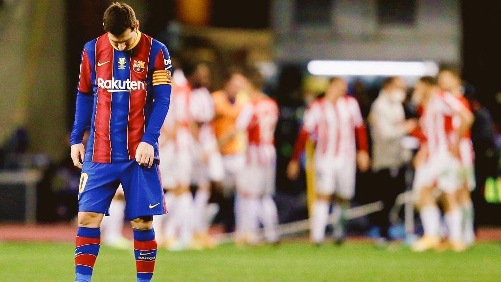 Barcelona vs Athletic Bilbao: Messi shown club career's first red card as Barca loses Supercopa de Espana final