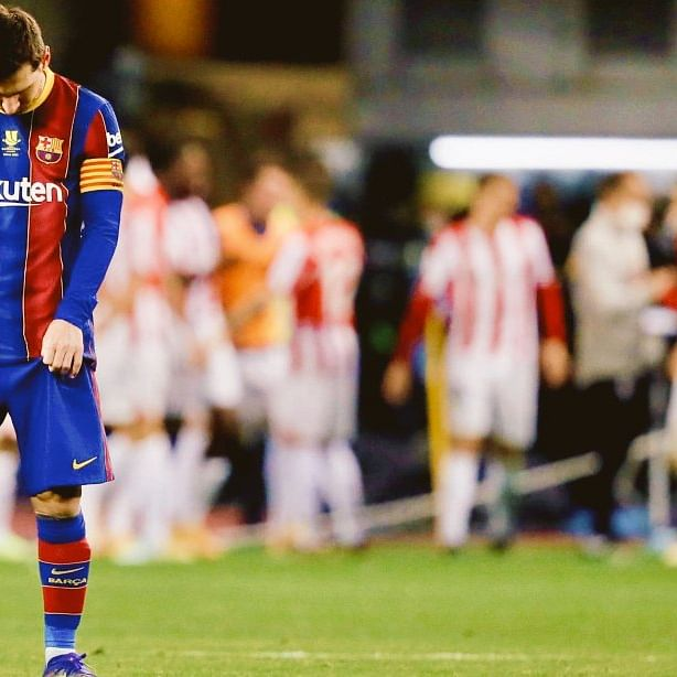 Barcelona vs Athletic Bilbao: Messi shown club career's first red card as Barca loses Supercopa de Espana final