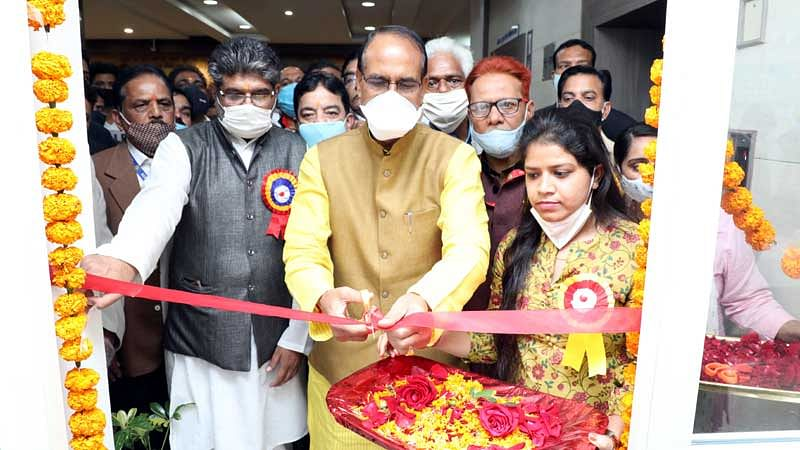 Chief Minister Shivraj Singh Chouhan at the New Year Milan Samaroh organised by Mantralaya Employees Union on Vallabh Bhavan premises in Bhopal on Thursday.