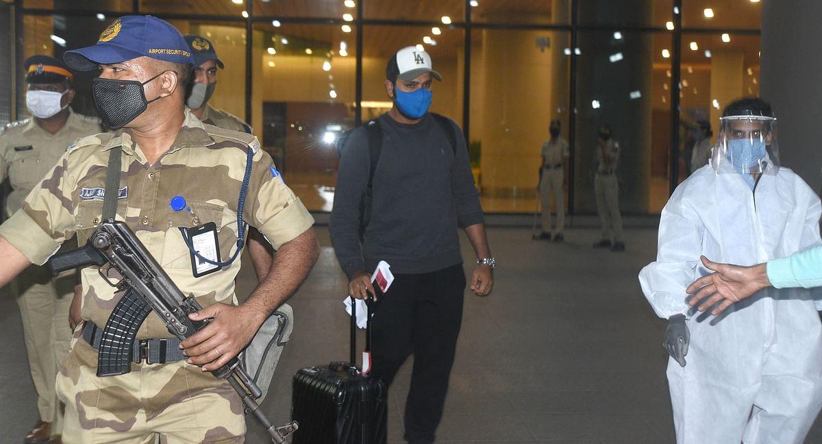 Rohit Sharma arrives at Mumbai airport.