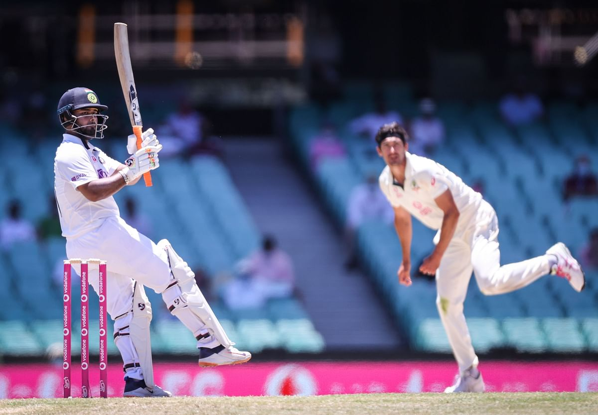 Rishabh Pant plays a shot during day five of the third cricket Test match between Australia and India at the Sydney Cricket Ground (SCG) on January 11, 2021