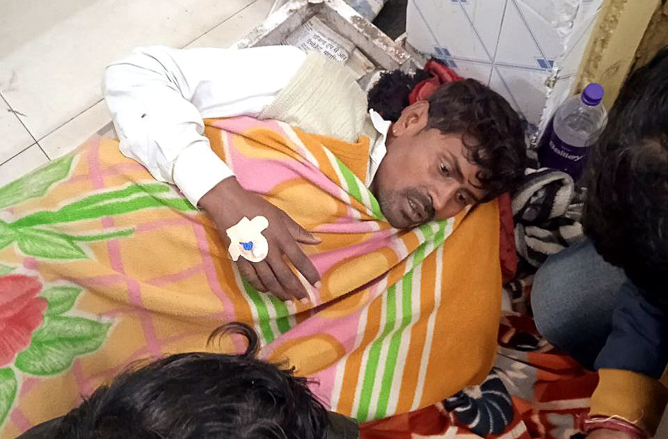 A patient being treated in the hospital after consuming suspected spurious liquor in Morena on Tuesday. Atleast 12 people died and other eight seriously fallen ill after consuming liquor.