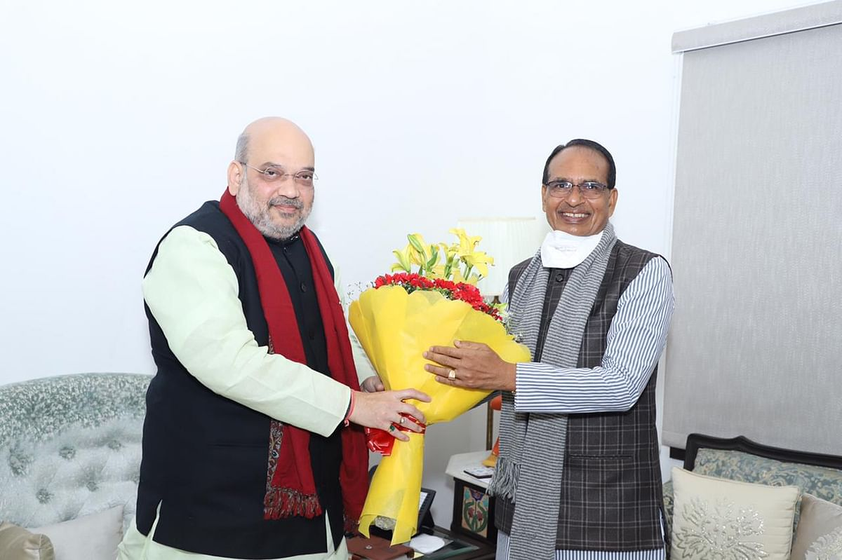 Madhya Pradesh Chief Minister Shivraj Singh Chouhan and Union home minister Amit Shah discuss Income-Tax report