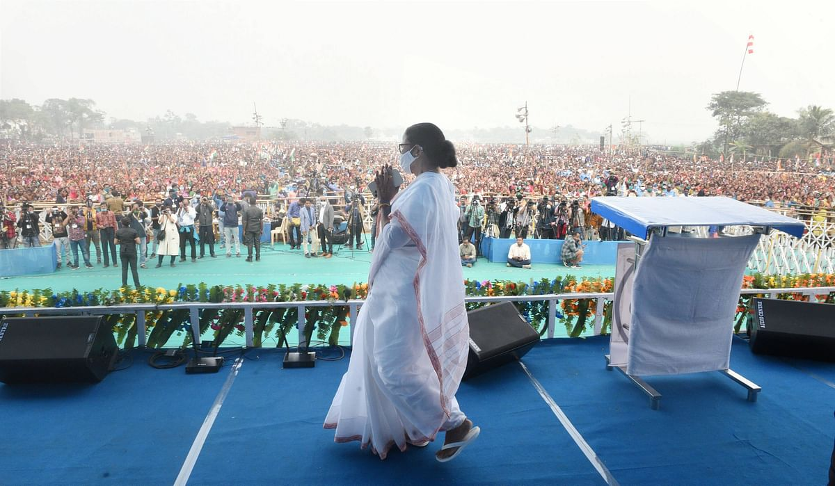 Hoogly: West Bengal Chief Minister Mamata Banerjee during a public rally in Hoogly, Monday, Jan. 25, 2021.