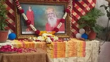 A condolence meeting underway to pay homage to Agni Akhara's Mahant Lal Baba
