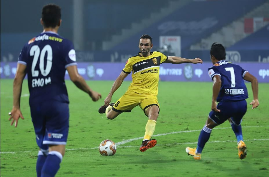 Joan Victor scores the third goal for Hyderabad
