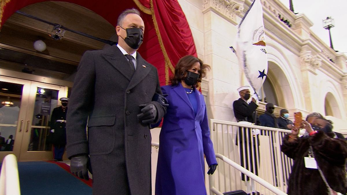 US: Vice President-elect Kamala Harris and her husband Doug Emhoff at the presidential inauguration ceremony at the US Capitol.